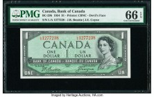 "Canada Bank of Canada $1 1954 Pick 66b BC-29b ""Devil's Face"" PMG Gem Uncirculated 66 EPQ.   HID09801242017  © 2020 Heritage Auctions 