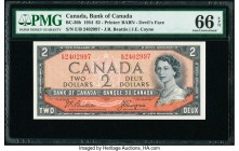 "Canada Bank of Canada $2 1954 Pick 67b BC-30b ""Devil's Face"" PMG Gem Uncirculated 66 EPQ.   HID09801242017  © 2020 Heritage Auctions 