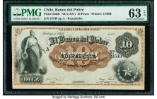 Chile Banco del Pobre 10 Pesos ND (1877) Pick S363r Remainder PMG Choice Uncirculated 63 EPQ.   HID09801242017  © 2020 Heritage Auctions | All Rights ...