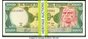 Ecuador Banco Central del Ecuador 1000 Sucres ND (Various Dates) Pick 12 Group Lot of 100 Examples Very Fine-Crisp Uncirculated. The majority of this ...