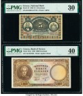 Greece National Bank of Greece 5 Drachmai 1916 Pick 54 PMG Very Fine 30. Greece Bank of Greece 5000 Drachmai 1950 Pick 184a PMG Extremely Fine 40.   H...