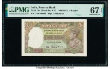India Reserve Bank of India 5 Rupees ND (1943) Pick 18b Jhun4.3.2 PMG Superb Gem Unc 67 EPQ. Staple holes at issue.  HID09801242017  © 2020 Heritage A...