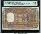 India Reserve Bank of India 1000 Rupees ND (1975) Pick 65a Jhun6.9.4.1 PMG Choice Very Fine 35. Staples holes at issue; ink stamp.  HID09801242017  © ...