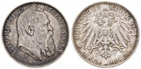 Alemania. Bavaria. 3 mark. 1911. Munich. D. (Km-998). Ag. 16,57 g. 90º Cumpleaños del Príncipe Regente. MBC+. Est...35,00. /// ENGLISH: Germany. Bayer...