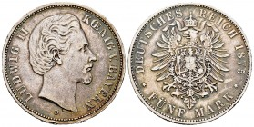 Alemania. Bavaria. Ludwig II. 5 mark. 1875. Munich. D. (Km-896). Ag. 27,63 g. Golpecito en el canto. Tono. MBC. Est...60,00. /// ENGLISH: Germany. Bay...