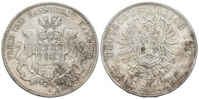 Alemania. Hamburg. 5 mark. 1876. Hamburgo. J. (Km-598). Ag. 27,51 g. MBC. Est...70,00. /// ENGLISH: Germany. Hamburg. 5 mark. 1876. Hambourg. J. (Km-5...