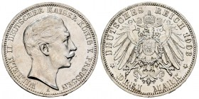 Alemania. Prussia. Wilhelm II. 3 mark. 1908. Berlín. A. (Km-527). Ag. 16,64 g. Brillo original. SC-. Est...60,00. /// ENGLISH: Germany. Prussia. Wilhe...