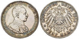 Alemania. Prussia. Wilhelm II. 5 mark. 1913. Berlín. A. (Km-536). Ag. 27,71 g. MBC+. Est...40,00. /// ENGLISH: Germany. Prussia. Wilhelm II. 5 mark. 1...