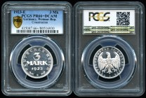 Alemania. República de Weimar. 3 mark. 1923. E. (Km-29). Ag. Encapsulada por PCGS como PR66 DCAM. Est...200,00. /// ENGLISH: Germany. Weimar Republic....
