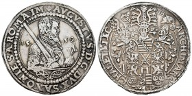 Alemania. Saxony. August I. 1 thaler. 1559. Dresden. HB. (Dav-9795). Ag. 28,74 g. MBC+. Est...250,00. /// ENGLISH: Germany. Saxony. August I. 1 thaler...