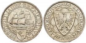 Alemania. 3 mark. 1927. Berlín. A. (Km-50). Ag. 15,05 g. SC. Est...250,00. /// ENGLISH: Germany. 3 mark. 1927. Berlin. A. (Km-50). Ag. 15,05 g. UNC. E...