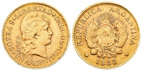 Argentina. 1 argentino. 1888. (Km-31). (Fried-14). Au. 8,18 g. EBC-. Est...350,00. /// ENGLISH: Argentina. 1 argentino. 1888. (Km-31). (Fried-14). Au....