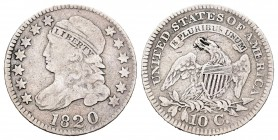 Estados Unidos. 10 cents. 1820. Philadelphia. (Km-42). Ag. 2,59 g. BC+. Est...50,00. /// ENGLISH: United States. 10 cents. 1820. Philadelphia. (Km-42)...