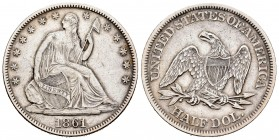 Estados Unidos. 1/2 dollar. 1861. Philadelphia. (Km-A68). Ag. 12,32 g. Seated Liberty. MBC+. Est...70,00. /// ENGLISH: United States. 1/2 dollar. 1861...