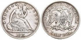 Estados Unidos. 1/2 dollar. 1875. Philadelphia. (Km-A99). Ag. 12,39 g. MBC-. Est...50,00. /// ENGLISH: United States. 1/2 dollar. 1875. Philadelphia. ...