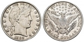 Estados Unidos. 1/2 dollar. 1908. Denver. D. (Km-116). Ag. 12,54 g. Muy escasa. MBC+. Est...200,00. /// ENGLISH: United States. 1/2 dollar. 1908. Denv...