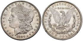 Estados Unidos. 1 dollar. 1880. Philadelphia. (Km-110). Ag. 26,74 g. Golpecitos en el canto. EBC. Est...35,00. /// ENGLISH: United States. 1 dollar. 1...