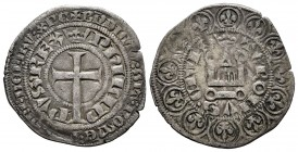 Francia. Philip IV. Gross. (1328-1350). Tournai. (Duplessy-265). Anv.: Cruz latina. Rev.: TVRONVS CIVIS. Castillo de Tournai. Ve. 3,12 g. MBC-. Est......