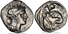 CALABRIA. Tarentum. Ca. 380-280 BC. AR diobol (12mm, 6h). NGC XF. Ca. 325-280 BC. Head of Athena right, wearing crested Attic helmet decorated with fi...