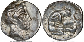 CALABRIA. Tarentum. Ca. 380-280 BC. AR diobol (12mm, 3h). NGC Choice VF, die shift. Ca. 325-280 BC. Head of Athena right, wearing crested Attic helmet...