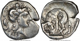 CALABRIA. Tarentum. Ca. 380-280 BC. AR diobol (13mm, 5h). NGC VF. Ca. 325-280 BC. Head of Athena right, wearing crested Attic helmet decorated with fi...