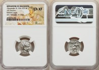 MACEDONIAN KINGDOM. Alexander III the Great (336-323 BC). AR drachm (18mm, 12h). NGC Choice XF. Lifetime issue of Miletus, ca. 325-323 BC. Head of Her...