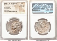 THRACIAN ISLANDS. Thasos. Ca. 2nd-1st centuries BC. AR tetradrachm (31mm, 16.76 gm, 11h). NGC AU 4/5 - 4/5. Ca. 148-90/80 BC. Head of Dionysus right, ...