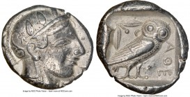 ATTICA. Athens. Ca. 465-455 BC. AR tetradrachm (25mm, 17.14 gm, 5h). NGC XF 5/5 - 3/5. Head of Athena right, wearing crested Attic helmet ornamented w...