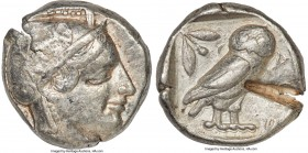 ATTICA. Athens. Ca. 455-440 BC. AR tetradrachm (24mm, 17.11 gm, 9h). About VF, test cut. Early transitional issue. Head of Athena right, wearing crest...
