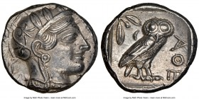 ATTICA. Athens. Ca. 440-404 BC. AR tetradrachm (24mm, 17.17 gm, 7h). NGC Choice AU 5/5 - 4/5. Mid-mass coinage issue. Head of Athena right, wearing cr...