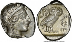 ATTICA. Athens. Ca. 440-404 BC. AR tetradrachm (26mm, 17.21 gm, 7h). NGC Choice AU 5/5 - 4/5. Mid-mass coinage issue. Head of Athena right, wearing cr...