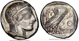 ATTICA. Athens. Ca. 440-404 BC. AR tetradrachm (25mm, 17.17 gm, 3h). NGC AU 5/5 - 4/5. Mid-mass coinage issue. Head of Athena right, wearing crested A...