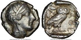 ATTICA. Athens. Ca. 440-404 BC. AR tetradrachm (26mm, 17.21 gm, 7h). NGC Choice XF 5/5 - 4/5. Mid-mass coinage issue. Head of Athena right, wearing cr...