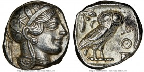 ATTICA. Athens. Ca. 440-404 BC. AR tetradrachm (25mm, 17.20 gm, 8h). NGC Choice XF 5/5 - 4/5. Mid-mass coinage issue. Head of Athena right, wearing cr...