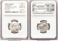 ATTICA. Athens. Ca. 440-404 BC. AR tetradrachm (23mm, 16.64 gm, 1h). NGC XF 4/5 - 1/5, test cut. Mid-mass coinage issue. Head of Athena right, wearing...