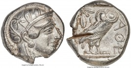 ATTICA. Athens. Ca. 440-404 BC. AR tetradrachm (24mm, 16.41 gm, 10h). About XF, test cut, edge chip. Mid-mass coinage issue. Head of Athena right, wea...