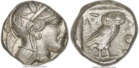 ATTICA. Athens. Ca. 440-404 BC. AR tetradrachm (23mm, 17.15 gm, 8h). XF. Mid-mass coinage issue. Head of Athena right, wearing crested Attic helmet or...