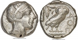 ATTICA. Athens. Ca. 440-404 BC. AR tetradrachm (23mm, 17.16 gm, 8h). Choice VF. Mid-mass coinage issue. Head of Athena right, wearing crested Attic he...