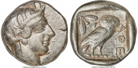ATTICA. Athens. Ca. 440-404 BC. AR tetradrachm (25mm, 17.11 gm, 5h). VF. Mid-mass coinage issue. Head of Athena right, wearing crested Attic helmet or...