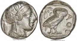 ATTICA. Athens. Ca. 440-404 BC. AR tetradrachm (24mm, 17.17 gm, 5h). XF. Mid-mass coinage issue. Head of Athena right, wearing crested Attic helmet or...