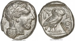 ATTICA. Athens. Ca. 440-404 BC. AR tetradrachm (25mm, 17.13 gm, 7h). XF, test cut, marks. Mid-mass coinage issue. Head of Athena right, wearing creste...