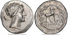 AEOLIS. Cyme. Ca. 165-155 BC. AR tetradrachm (33mm, 16.69 gm, 12h). NGC AU 4/5 - 3/5. Kallias, magistrate. Head of the Amazon Cyme right, her hair bou...