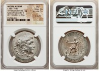 AEOLIS. Myrina. Ca. 188-170 BC. AR tetradrachm (37mm, 16.12 gm, 12h). NGC AU 4/5 - 3/5, lt graffiti. Posthumous Alexander type issue. Head of Heracles...