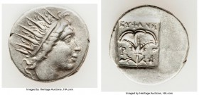 CARIAN ISLANDS. Rhodes. Ca. 88-84 BC. AR drachm (16mm, 2.75 gm, 12h). XF. Plinthophoric standard, Euphanes, magistrate. Radiate head of Helios right /...