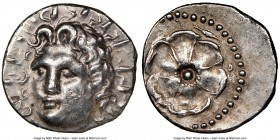 CARIAN ISLANDS. Rhodes. Ca. 84-30 BC. AR drachm (19mm, 4.43 gm, 1h). NGC AU 4/5 - 3/5, marks. Radiate head of Helios facing, turned slightly left, hai...