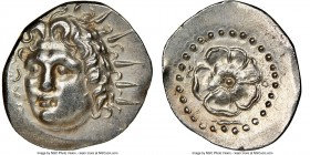 CARIAN ISLANDS. Rhodes. Ca. 84-30 BC. AR drachm (20mm, 11h). NGC AU, brushed, edge bend. Radiate head of Helios facing, turned slightly left, hair par...