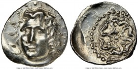 CARIAN ISLANDS. Rhodes. Ca. 84-30 BC. AR drachm (20mm, 6h). NGC AU, edge bend. Radiate head of Helios facing, turned slightly left, hair parted in cen...