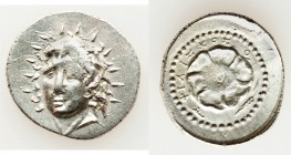 CARIAN ISLANDS. Rhodes. Ca. 84-30 BC. AR drachm (22mm, 4.46 gm, 12h). Choice XF. Philiscus, magistrate. Radiate head of Helios facing, turned slightly...