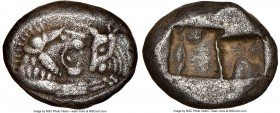 LYDIAN KINGDOM. Croesus (561-546 BC). AR half-stater or siglos (15mm, 5.14 gm). NGC XF 5/5 - 3/5. Sardes, after 561 BC. Confronted foreparts of lion f...
