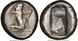 ACHAEMENID PERSIA. Darius I-Xerxes II (ca. 485-480 BC). AR siglos (15mm, 5.35 gm). NGC Choice Fine 4/5 - 3/5. Persian king or hero, wearing cidaris an...